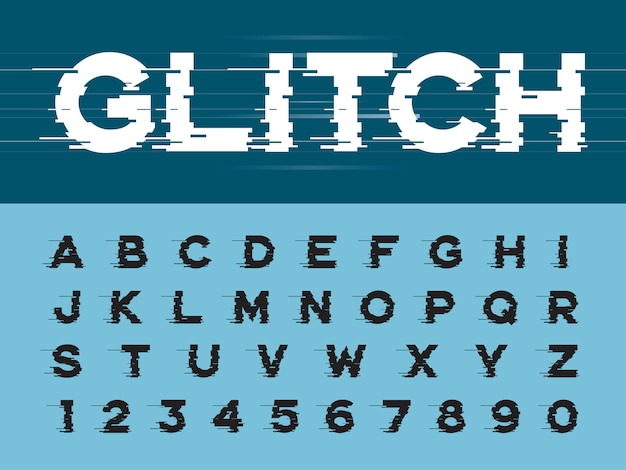 Glitch modern alphabet letters and numbers, grunge linear stylized rounded fonts