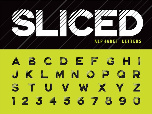 Glitch modern alphabet letters and numbers