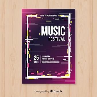 Glitch music festival poster template