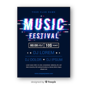 Glitch music festival poster template
