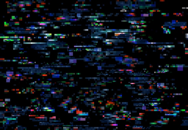 Glitch noise of tv pixels on digital screen background