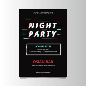 Glitch party poster template