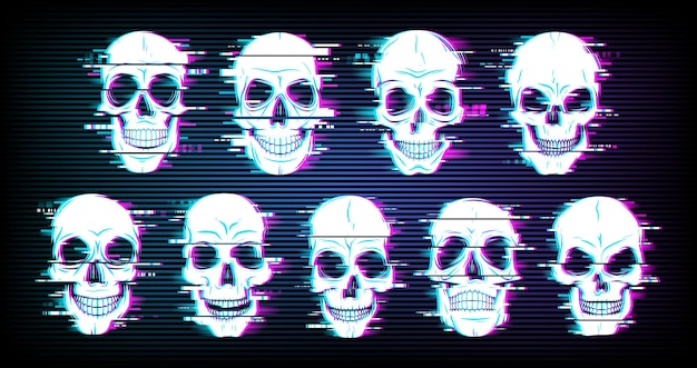 Glitch skulls distorted neon glowing pixelized craniums or jolly roger