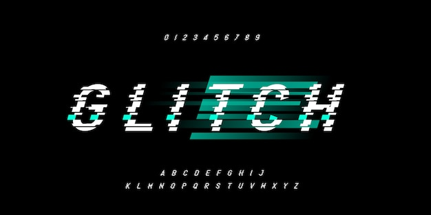 Glitch speed electric technology, typography italic alphabet fonts set