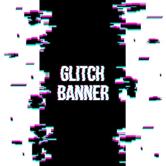 Glitch style distorted banner background.