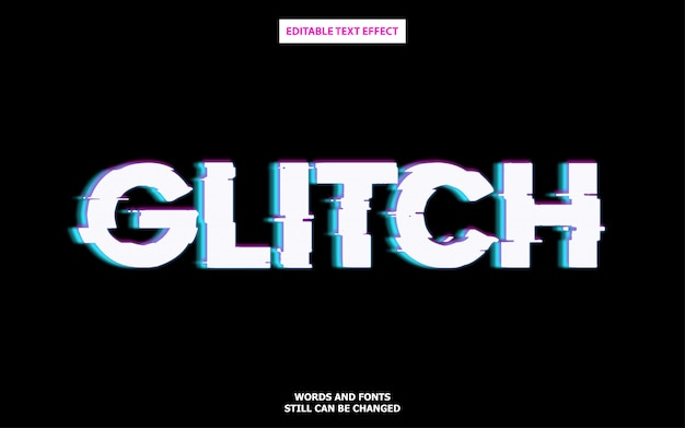 Glitch style editable font effect