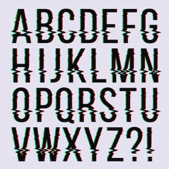 Glitch style, old television screen distortion effect english type, font, typeface letters.