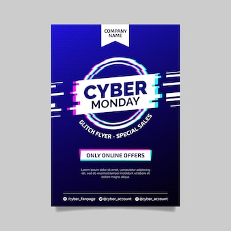 Glitch template cyber monday flyer