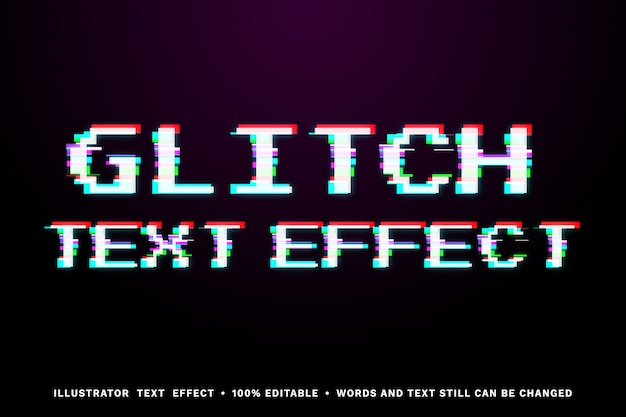 Glitch text effect - easy editable text style