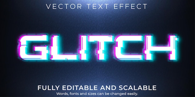 Текстовый эффект сбоя, редактируемый сигнал и стиль текста ошибки