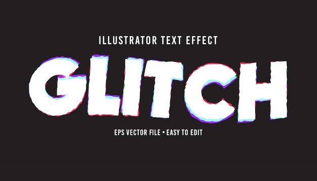 Glitch text style editable vector eps text effect
