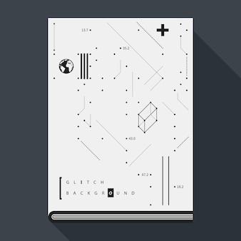 Обложка книги с надписью glitch / плакат с простыми геометрическими элементами дизайна.