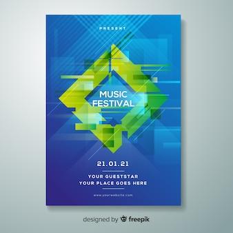 Шаблон плаката музыкального фестиваля glitch