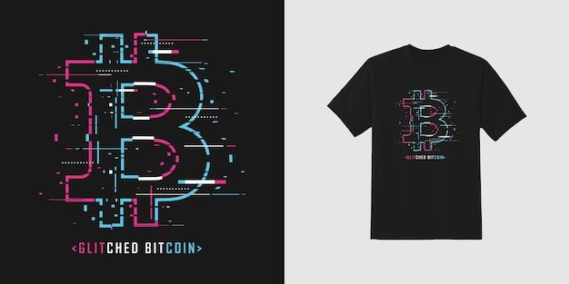 Glitche bitcoin free premium vector
