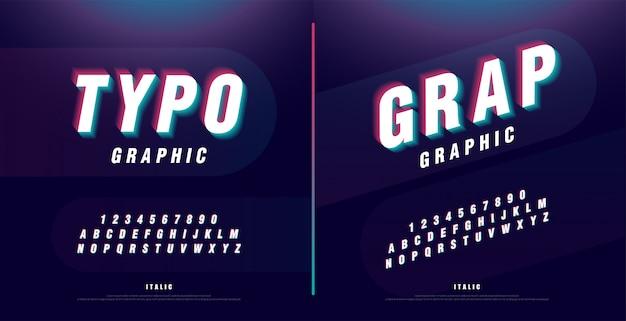 Glitched alphabet font. headline, logo, italic