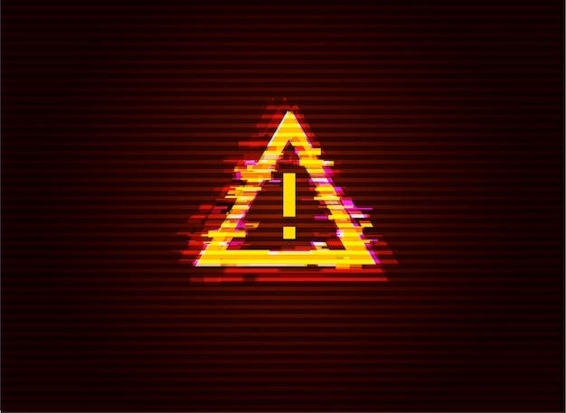 Glitched attention / danger symbol. computer hacked error concept.  illustration.