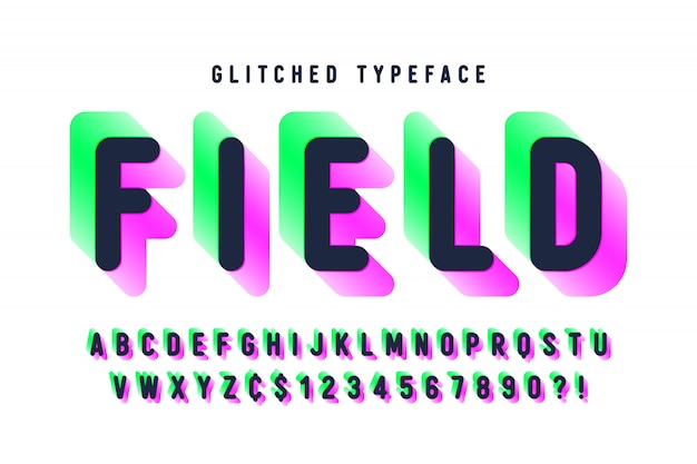 Glitched display font, alphabet, typeface, letters