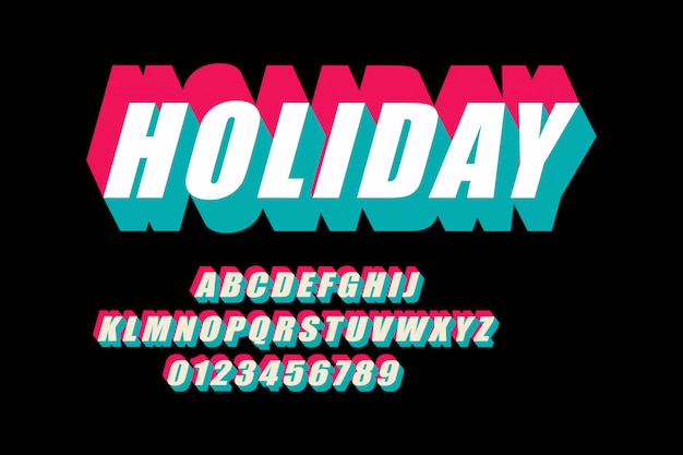 Glitched display font design, alphabet, typeface, letters and numbers, typography