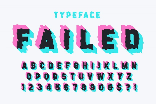 Glitched display font design, alphabet, typeface, letters
