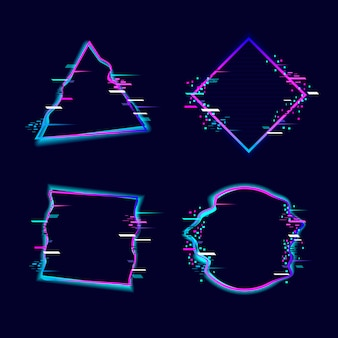 Glitched geometric shapes collection