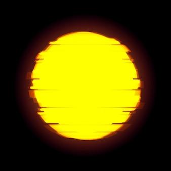 コピースペースとグリッチベクトル黄色の円。歪んだグリッチスタイルの太陽。デザインのためのモダンなデジタルグローの背景