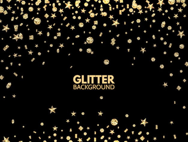 Glitter background. falling gold glitter confetti