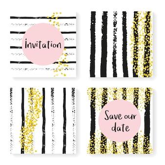 Glitter banner. black abstract particle. nursery invite. celebration brochure set. white polka particles. golden glittery print. stripe dream element. stripe glitter banner