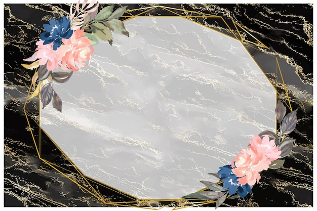 Glitter on black marble with floral background