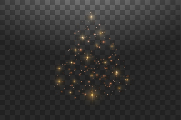 Блеск боке огни и блестки. сияющие частицы и искры с эффектом бликов на прозрачном фоне.