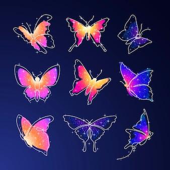 반짝이 나비 스티커, 화려한 아름다운 벡터 동물 그림 세트