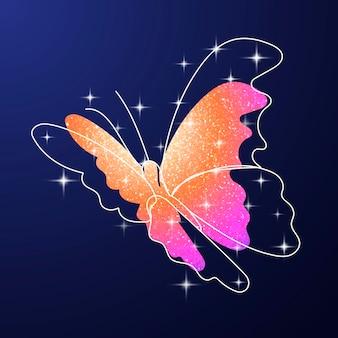 キラキラ蝶ステッカー、オレンジ色のカラフルな美的ベクトル動物イラスト