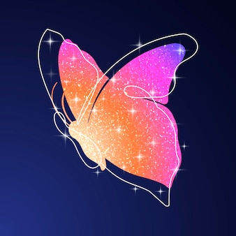 반짝이 나비 스티커, 오렌지 다채로운 미적 벡터 동물 그림