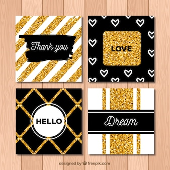 Glitter cards collection with golden color