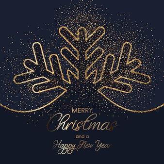 Glitter christmas snowflake background