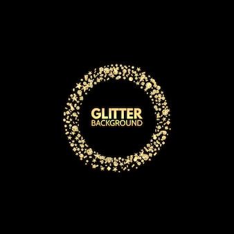 Glitter circle. festive golden sparkle background
