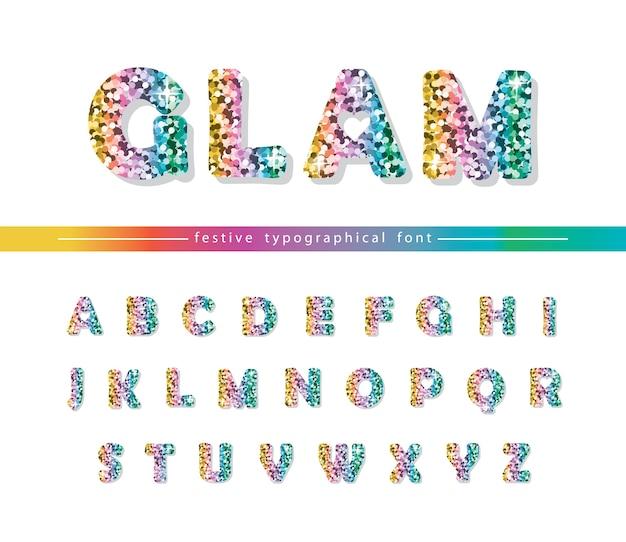Glitter confetti multicolored font isolated on white.