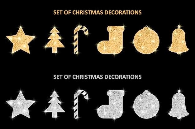 Набор рождественских золотых и серебряных украшений с блестками праздничные подвесные украшения