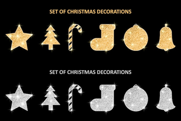 Glitter covered christmas gold and silver decorations set holiday hanging ornaments