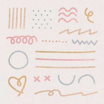 Insieme di elementi di design glitter