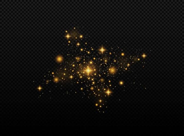 粒子のきらめき効果ほこりの火花と金色の星が特別な光で輝きます