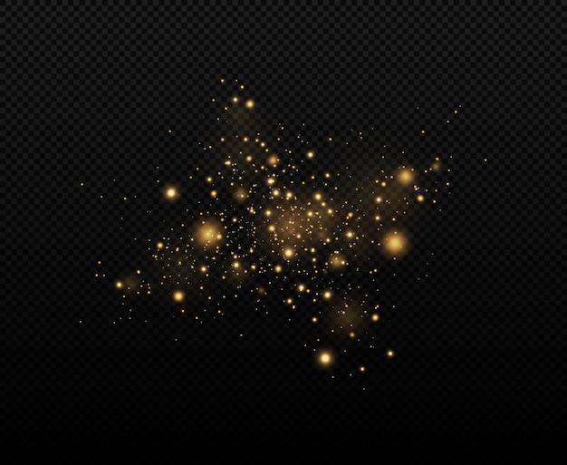 입자의 반짝이 효과 먼지 스파크와 황금 별이 특별한 빛으로 빛납니다.
