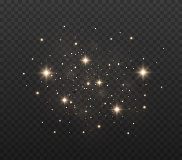 입자의 반짝임 효과 먼지가 스파크하고 황금빛 별이 빛납니다.