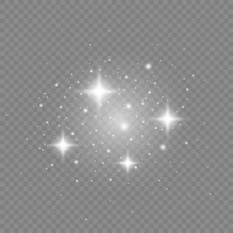 입자의 반짝이는 효과 먼지 스파크와 은색 별이 특별한 빛으로 빛납니다.