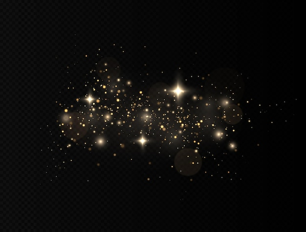 Glitter effect of particles. dust sparks and golden stars shine with special light