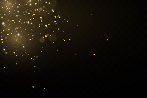Glitter effect of particles. gold is sparkling. star dust sparkling particles on a transparent background.