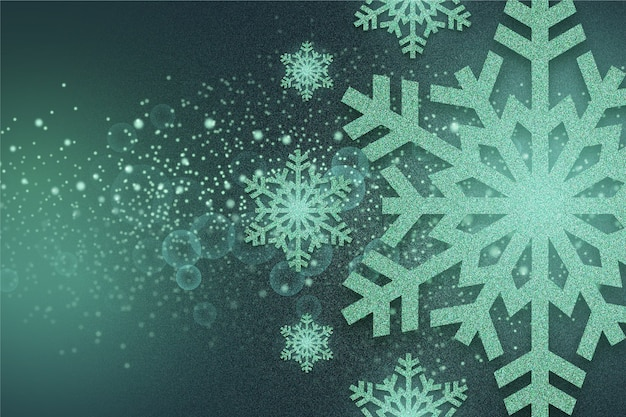 Glitter effect of snowflakes background