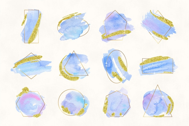 Glitter frame collection with watercolor brush strokes
