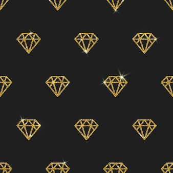キラキラのゴールドダイヤモンド-シームレスな背景。