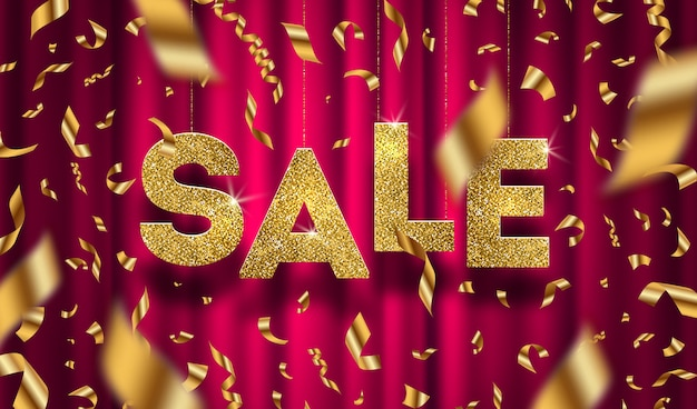 Glitter gold grand sale sign and falling golden foil confetti on a red curtain background.  illustration.