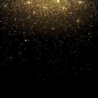 キラキラの金の粒子が輝きます。黄金の輝く魔法の粉。黒の透明な背景に光の効果。火花や星が特別な光で輝きます。